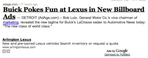 Bad Lexus Ad Placement